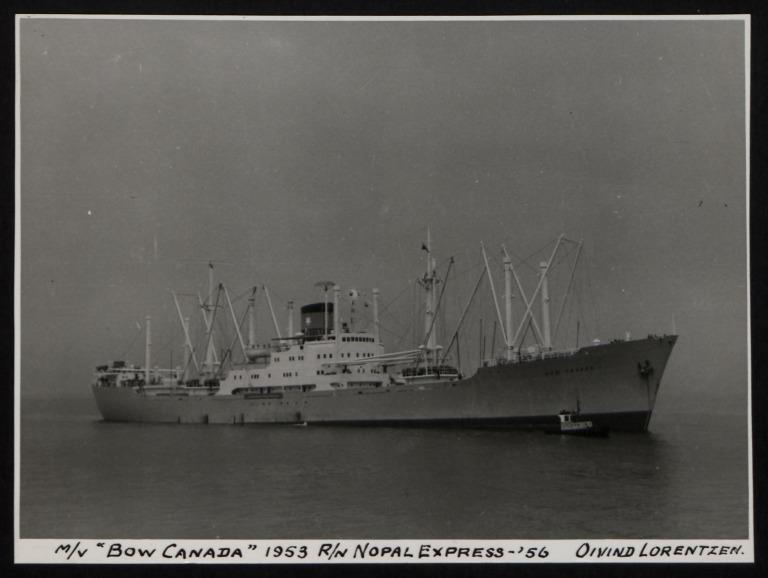 Photograph of Bow Canada (r/n Nopal Express), Oivind Lorentzen card
