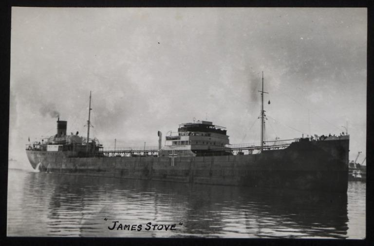 Photograph of James Stove (ex Bralanta), Lorentzens Rederi Co card