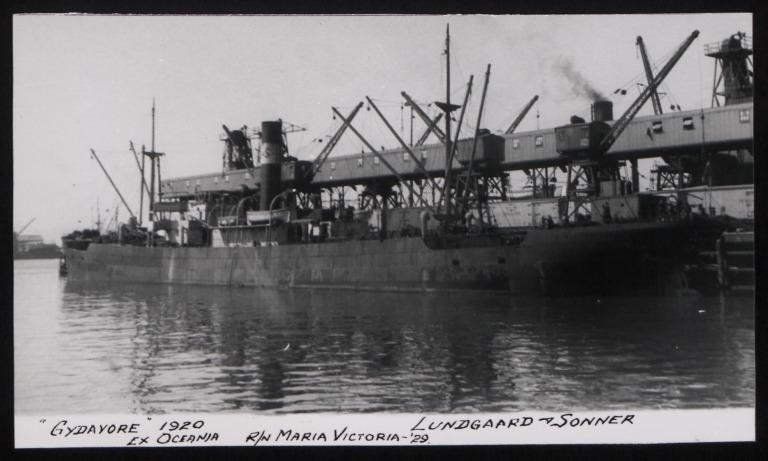Photograph of Gydnavore (ex Oceania, r/n Maria Victoria), Lundegaard and Sonner card