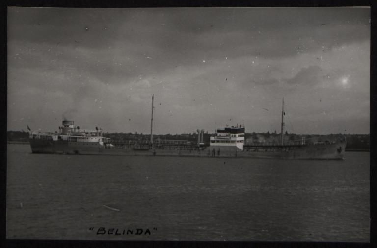 Photograph of Belinda (r/n Globe Trader), A H Mathiesen card