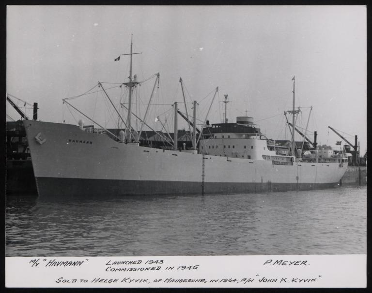 Photograph of Havmann (r/n John K Kyvik), P Meyer card