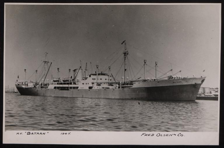 Photograph of Bataan, Fred Olsen card