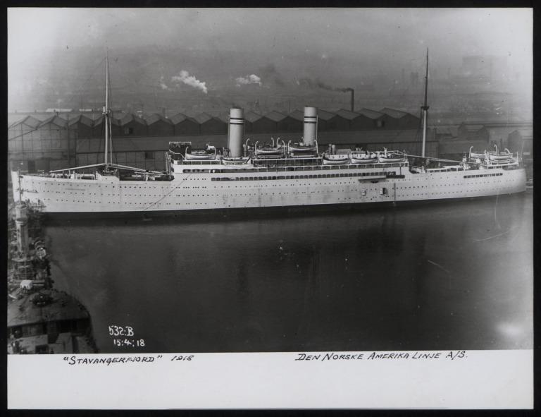 Photograph of Stavangerfjord, Norwegian American Line card