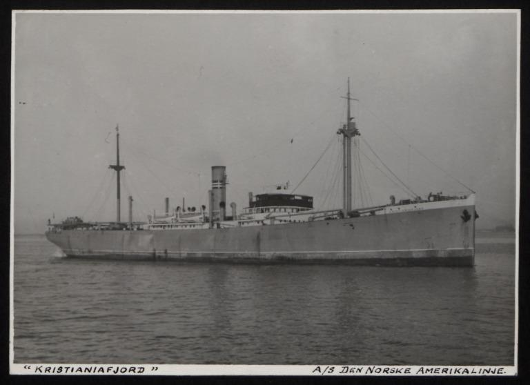 Photograph of Kristianiafjord (r/n Aghios Stefanos), Norwegian American Line card