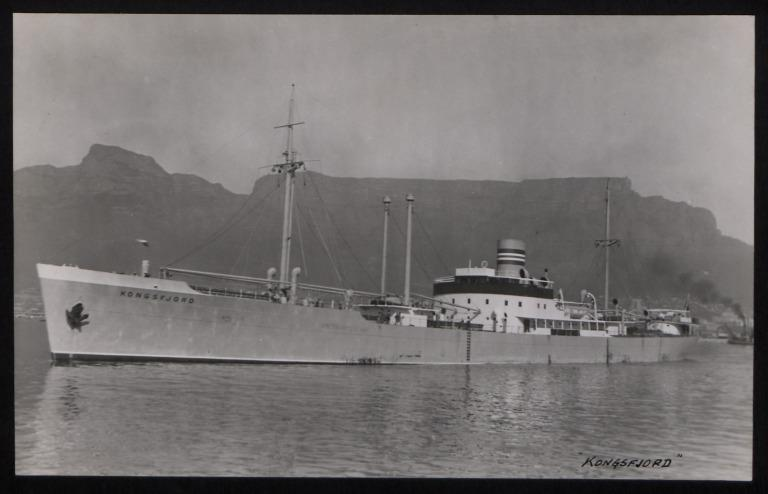 Photograph of Kongsfjord, Norwegian American Line card
