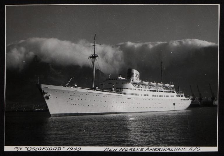 Photograph of Oslofjord, Norwegian American Line card