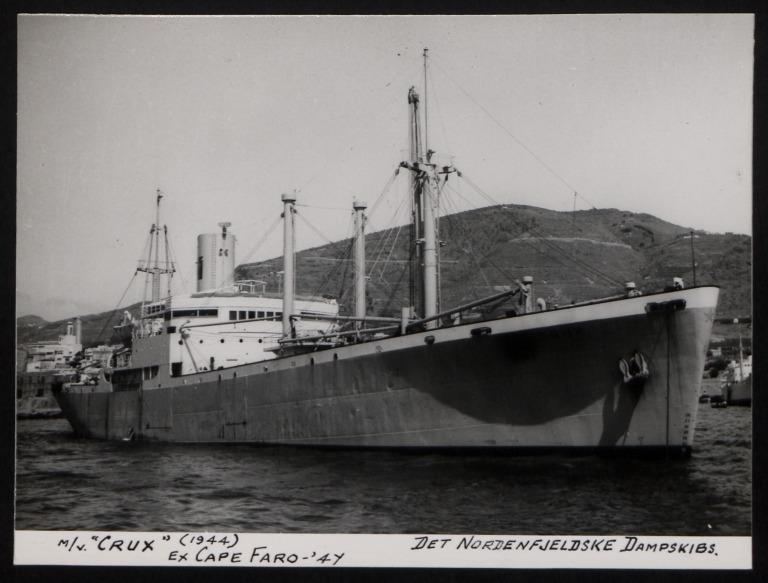 Photograph of Crux (ex Cape Garo), Det Nordenfjeldske Dampskibs card