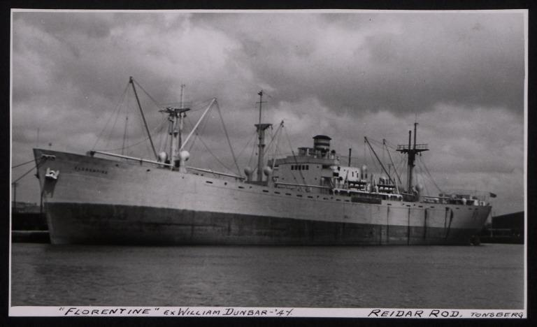 Photograph of Florentine (ex Willianm Dunbar), Reidar Rod card