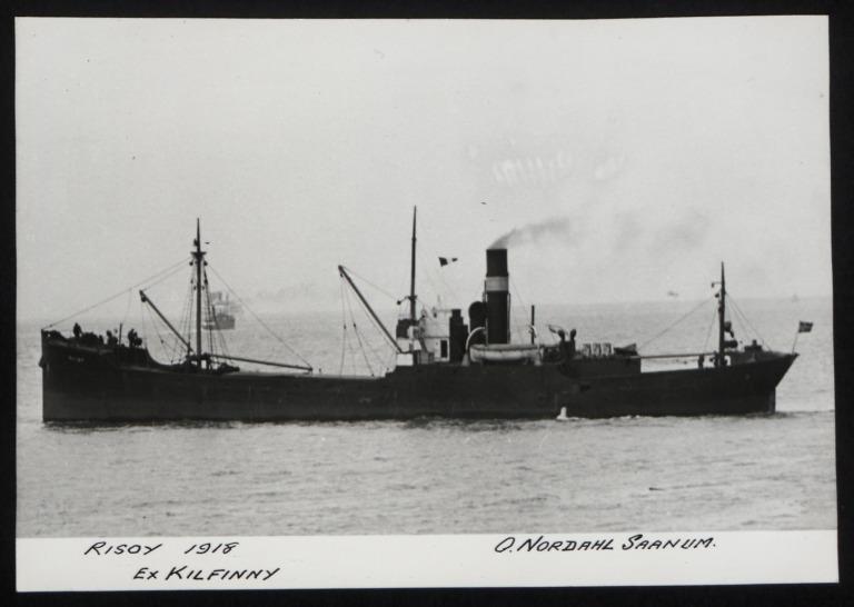 Photograph of Risoy (ex Horsa, Kenrhos, Helso, Kilfinny), O Nordal Saanum card