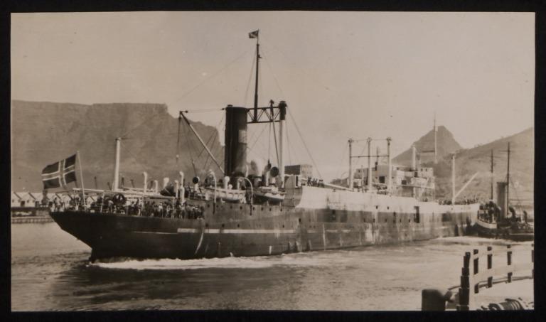 Photograph of C.A. Larsen (ex San Gregorio, r/n Antarctic), J Rasmussen and Co card