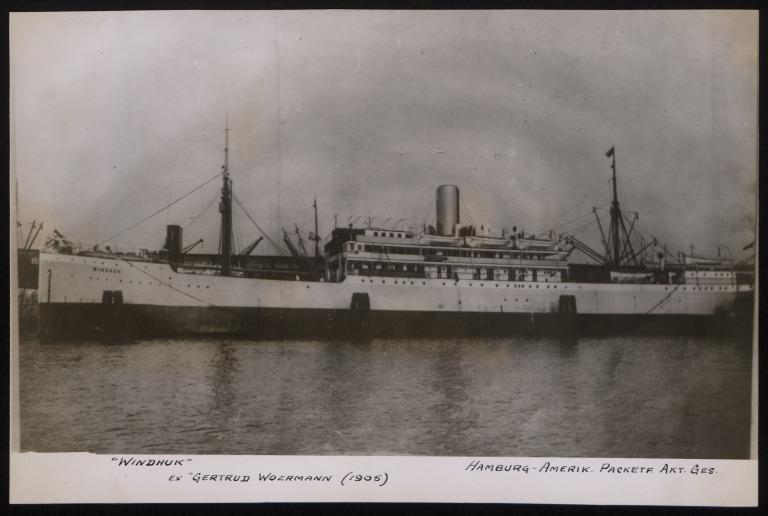Photograph of Windhuk (ex Gertrud Woerman, r/n Joao Belo, City of Genoa), Hamburg Amerika Line card