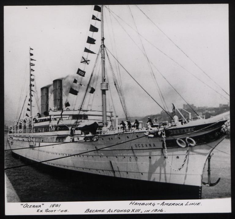 Photograph of Oceana (ex Scot, r/n Alphonso XIII, Vasco Nunez De Balboa), Hamburg Amerika Line card