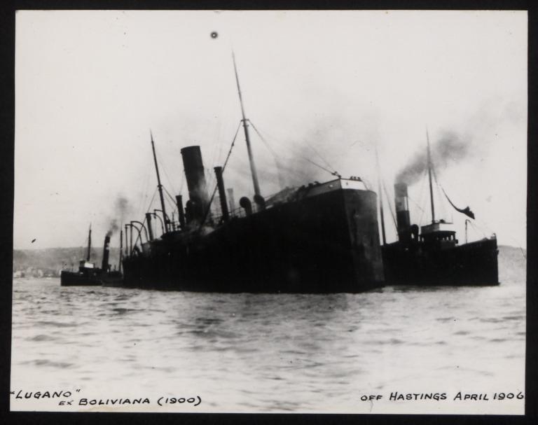 Photograph of Lugano (ex Boliviana, r/n Atlantis, Lotus, Asmund), Hamburg Amerika Line card