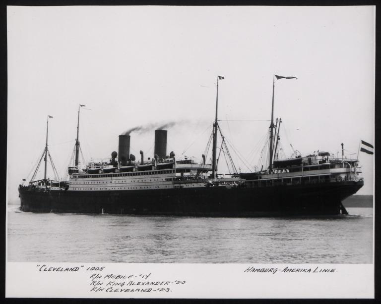 Photograph of Cleveland (r/n Mobile, King Alexander), Hamburg Amerika Line card
