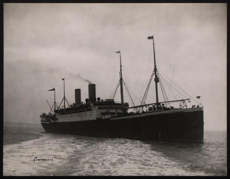 Photograph of Cincinnati (r/n Covington), Hamburg Amerika Line card