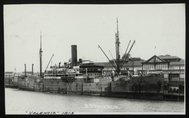 Photograph of Valencia (r/n Hughli, Tinhow), Hamburg Amerika Line card
