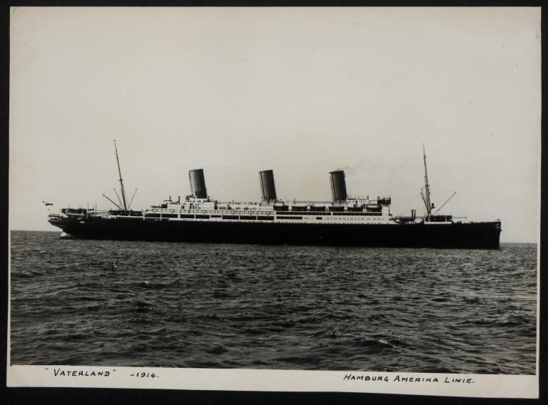 Photograph of Vaterland (r/n Leviathan), Hamburg Amerika Line card