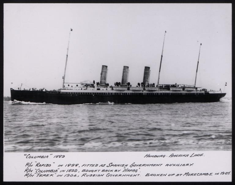 Photograph of Columbia (r/n Rapido, r/n Terek), Hamburg Amerika Line card