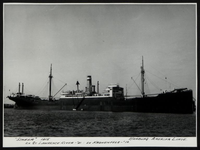 Photograph of Scheer (ex St. Lawrence, Kronenfels, r/n Mangkai), Hamburg Amerika Line card