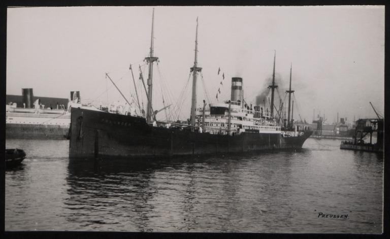Photograph of Preussen, Hamburg Amerika Line card