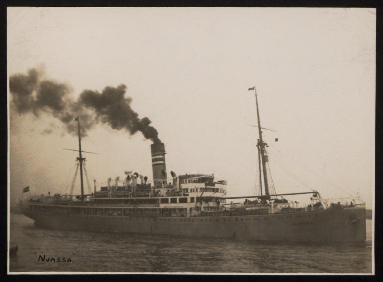 Photograph of Njassa, Hamburg Amerika Line card