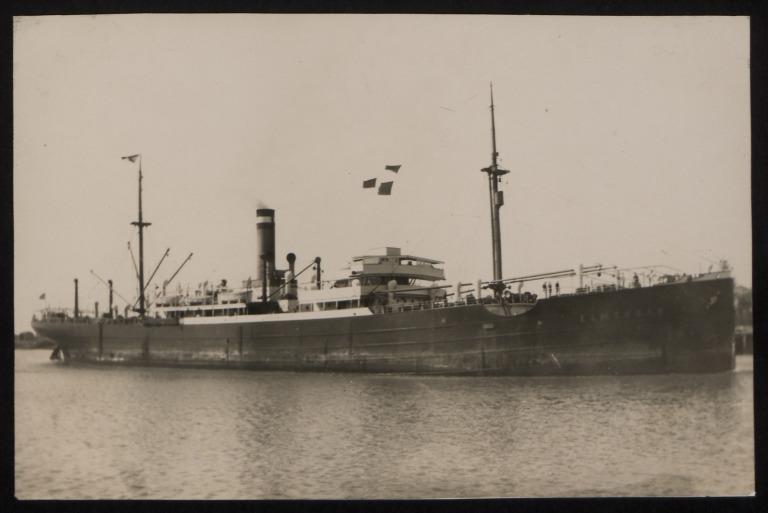 Photograph of Elmshorn (ex Mannheim, Casco), Hamburg Amerika Line card