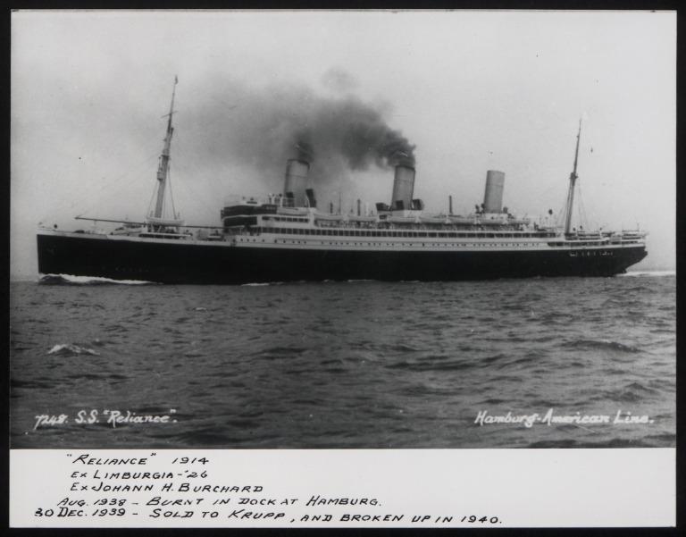 Photograph of Reliance (ex Limburgia, Johann Heinrich Burchard), Hamburg Amerika Line card