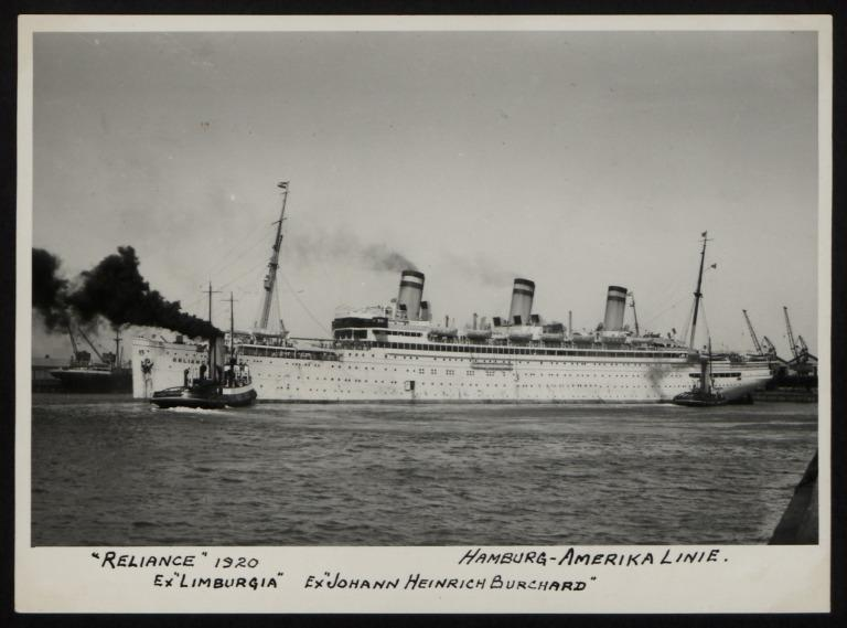 Photograph of Reliance (ex Limburgia, Johann Heinrich Burchard), Hamburg Amerika Line card