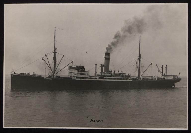 Photograph of Hagan (r/n Ixia, Empire Success), Hamburg Amerika Line card