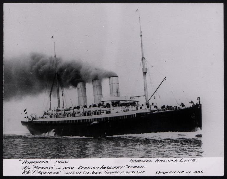 Photograph of Normannia (r/n L'Aquitane), Hamburg Amerika Line card