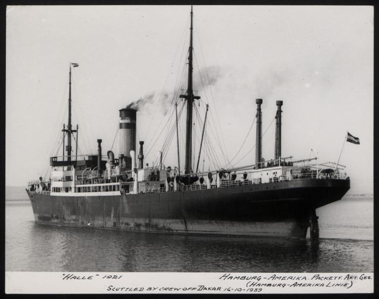 Photograph of Halle, Hamburg Amerika Line card