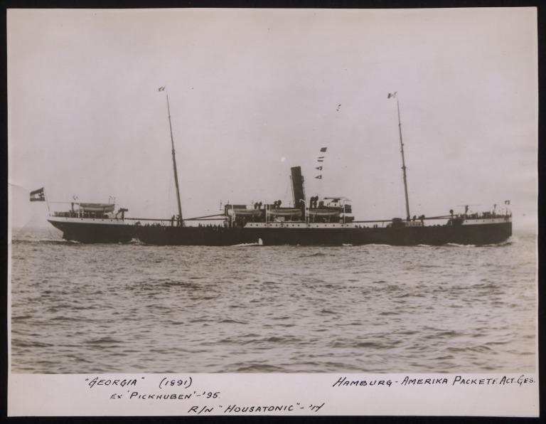 Photograph of Georgia (ex Pickhuben, r/n Housatonic), Hamburg Amerika Line card