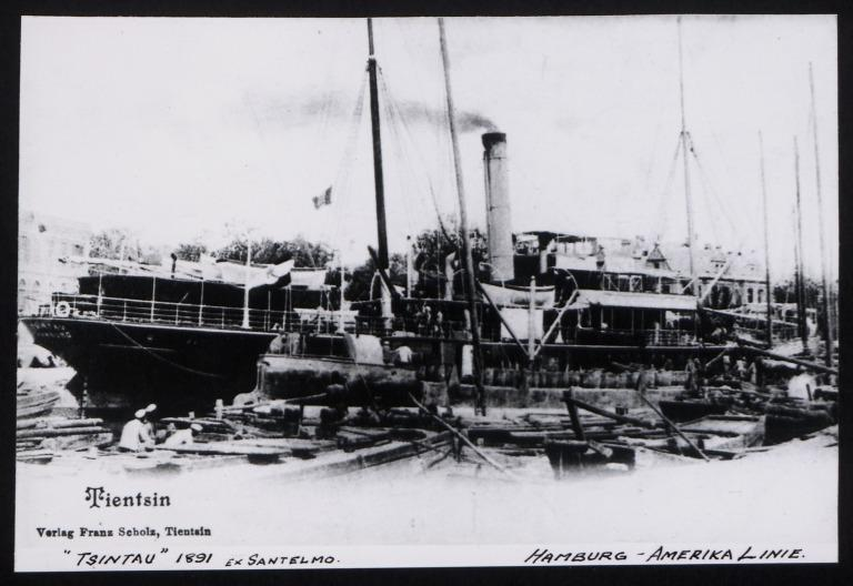 Photograph of Tsintau (ex Santelmo), Hamburg Amerika Line card