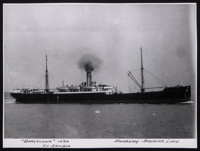 Photograph of Barcelona (ex Arabia, r/n Ancona), Hamburg Amerika Line card