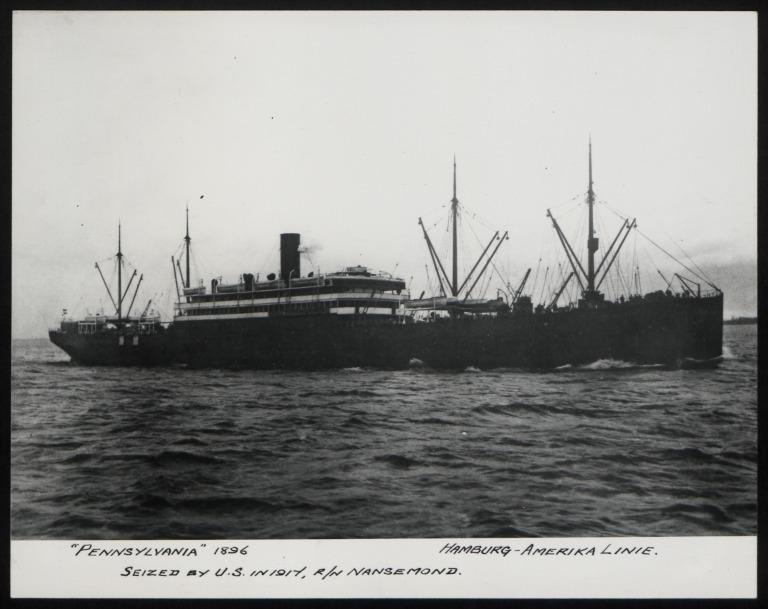 Photograph of Pennsylvania (r/n Nansemond), Hamburg Amerika Line card