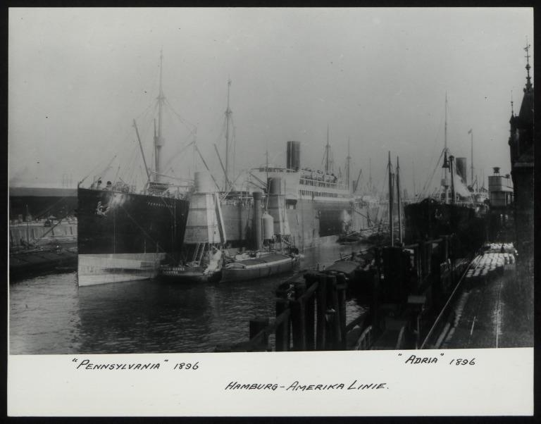 Photograph of Pennsylvania (r/n Nansemond) and Adria, Hamburg Amerika Line card
