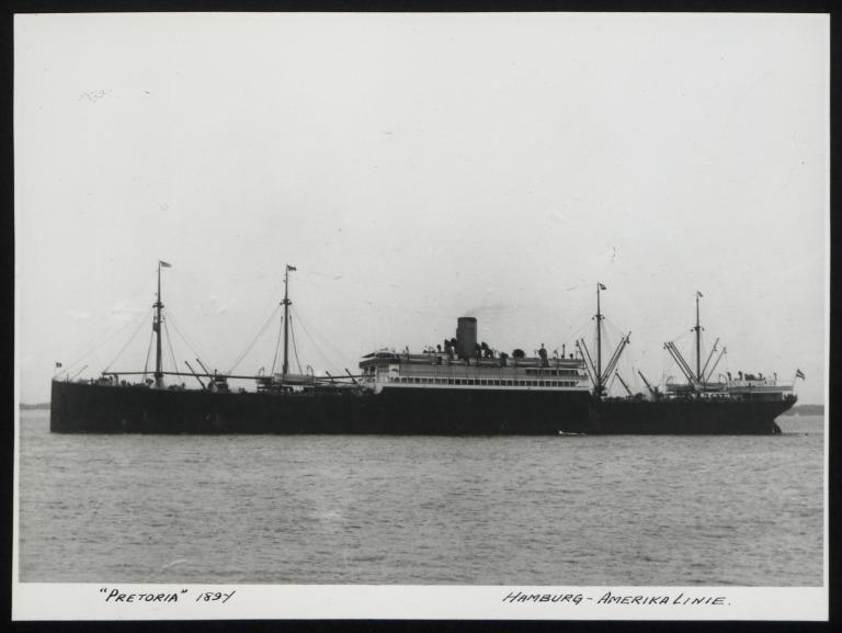 Photograph of Pretoria, Hamburg Amerika Line card