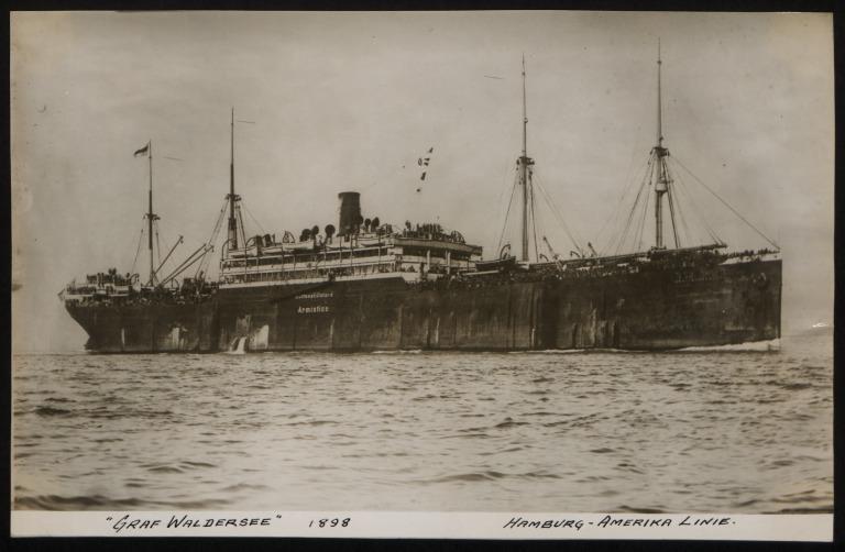 Photograph of Graf Waldersee, Hamburg Amerika Line card