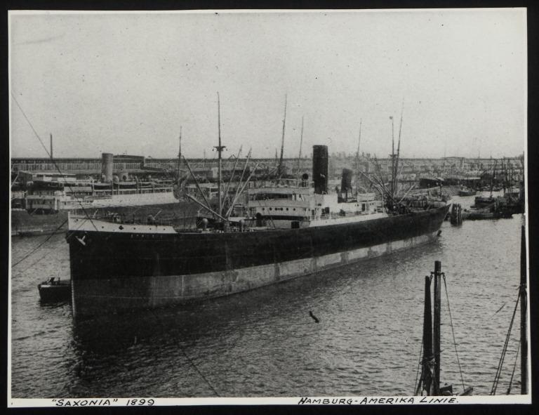 Photograph of Saxonia (r/n Savannah), Hamburg Amerika Line card