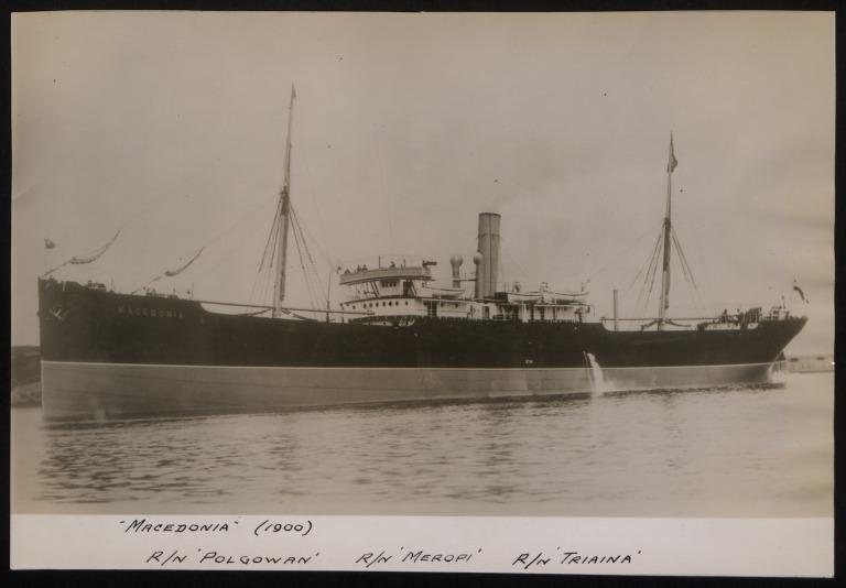 Photograph of Macedonia (r/n Polgowan, Meropi, Triaina), Hamburg Amerika Line card