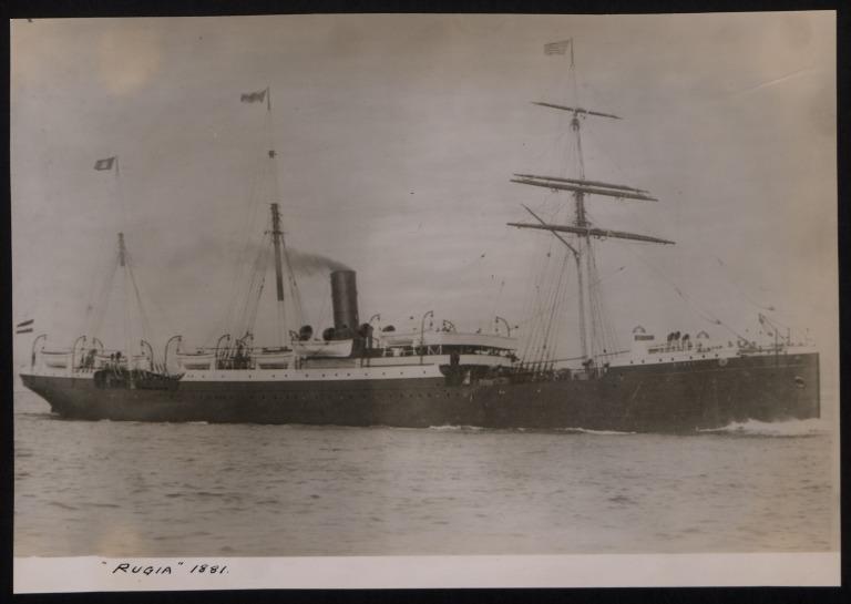 Photograph of Rugis (r/n Patria), Hamburg Amerika Line card