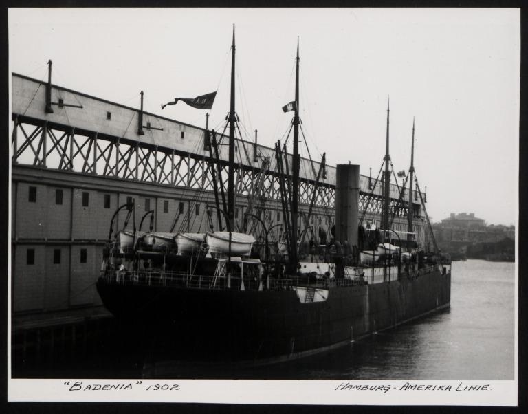 Photograph of Badenia (r/n Holm), Hamburg Amerika Line card
