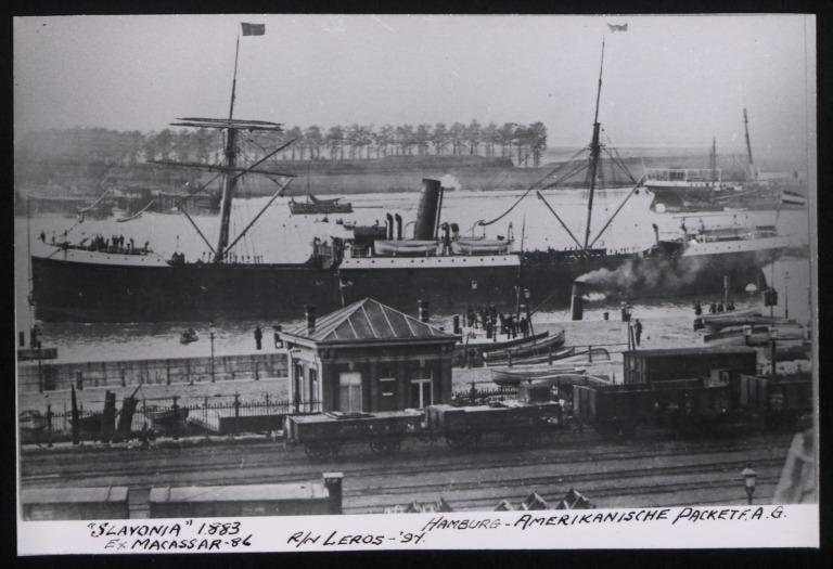 Photograph of Slavonia (ex Macassar, r/n Leros), Hamburg Amerika Line card