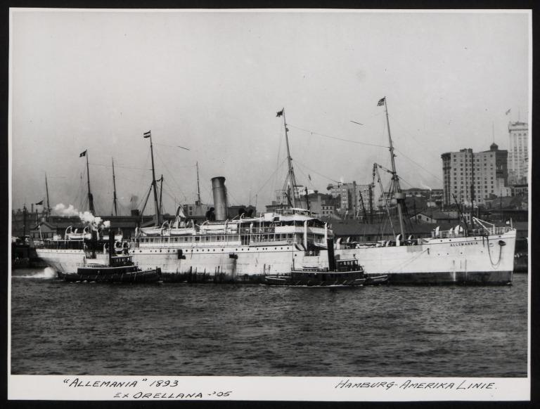 Photograph of Allemania (ex Orellana, r/n Kowno, Owasco), Hamburg Amerika Line card
