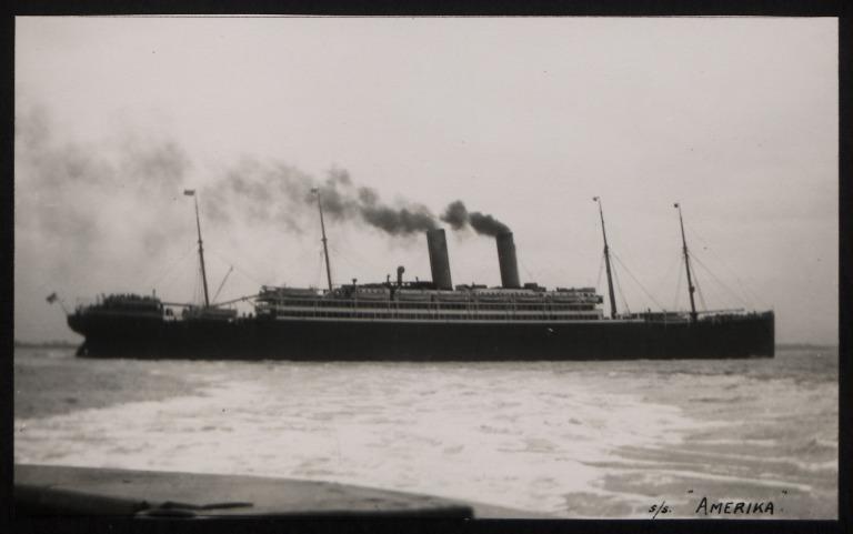 Photograph of Amerika (r/n America, r/n Edmund B Alexander), Hamburg Amerika Line card