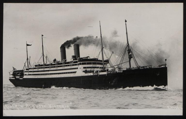 Photograph of Kaiserin Auguste Victoria (r/n Empress of Scotland), Hamburg Amerika Line card