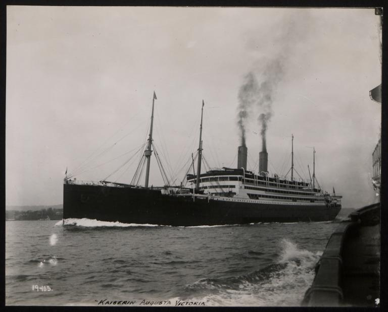 Photograph of Kaiserin Auguste Victoria (r/n Empress of Scotland), Hamburg Amerika Line card