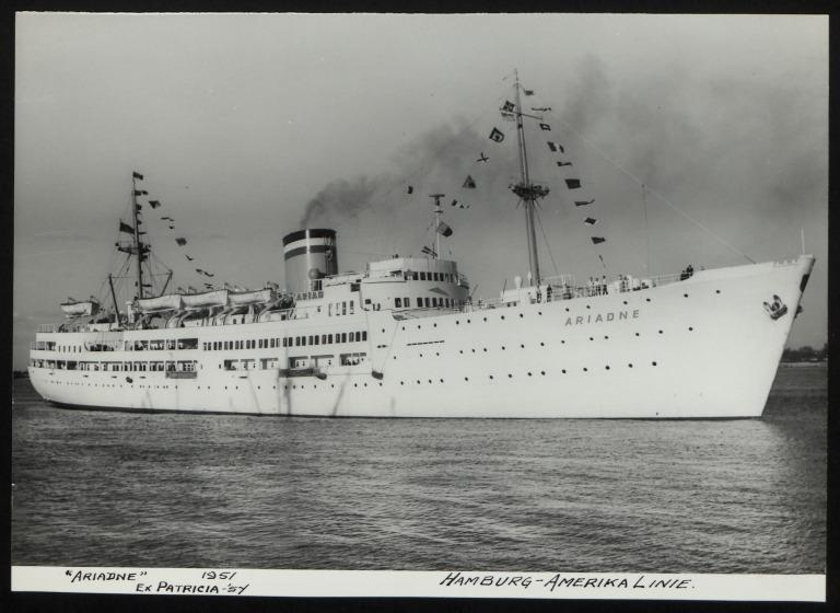Photograph of Ariadne (ex Patricia), Hamburg Amerika Line card
