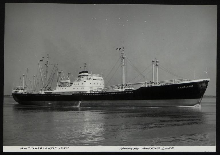 Photograph of Saarland, Hamburg Amerika Line card