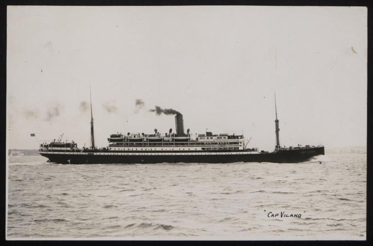 Photograph of Cap Vilano (r/n Sobral, General Metzinger), Hamburg Sudamerika Line card